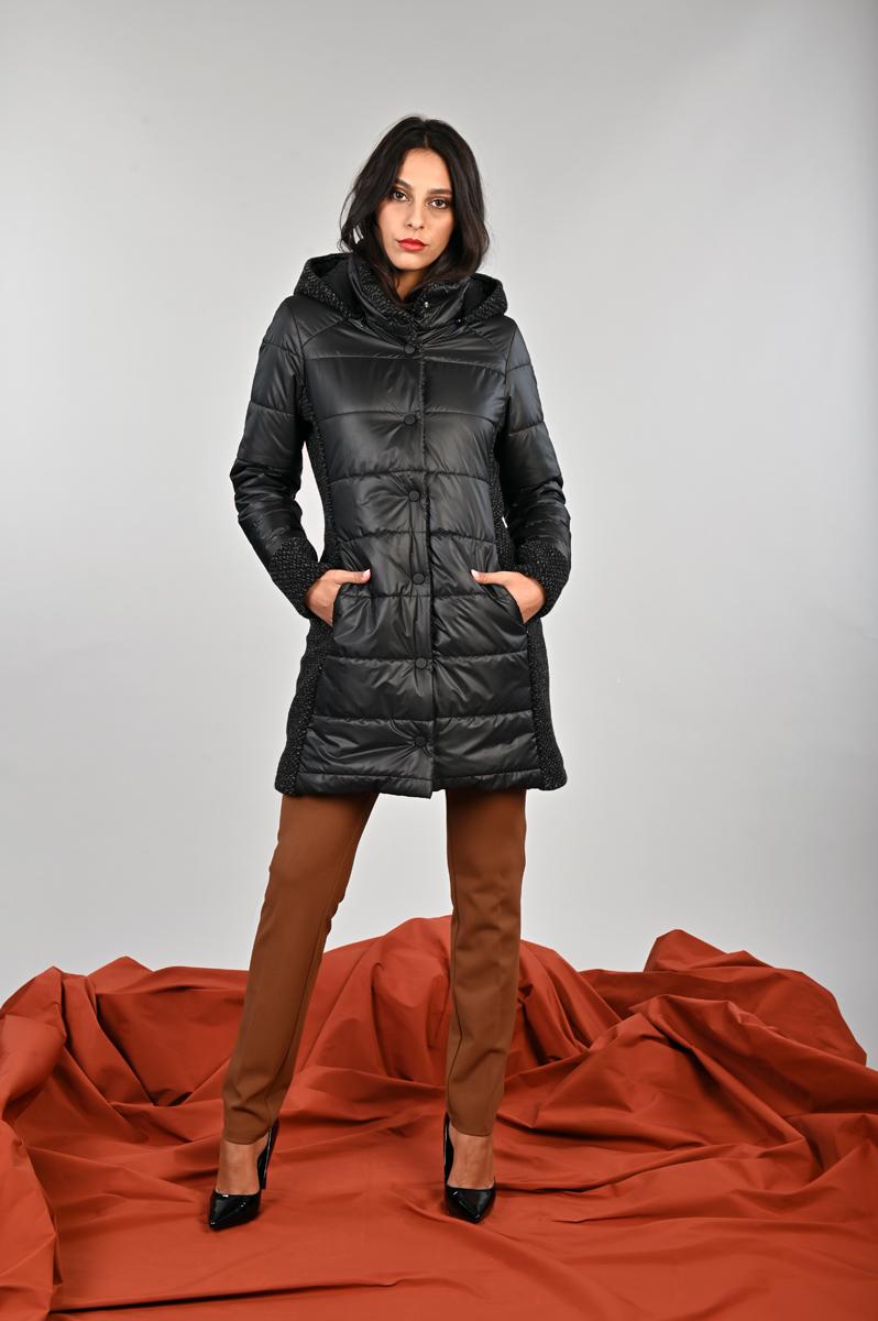 giaccone trapuntato con inserti in maglia bouclet