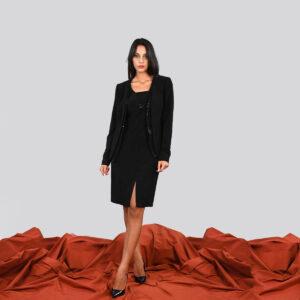 Giacca nera impreziosita con paillettes Meteore Curvy Fashion