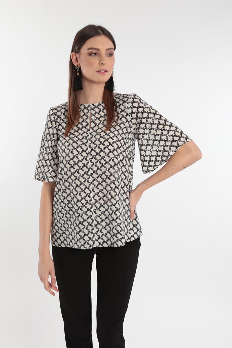 camicia fantasia con maniche ampie Primavera 2020 Meteore Fashion