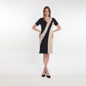 Abito Donna elasticizzato in crepe bicolore primavera 2020 Meteore Fashion