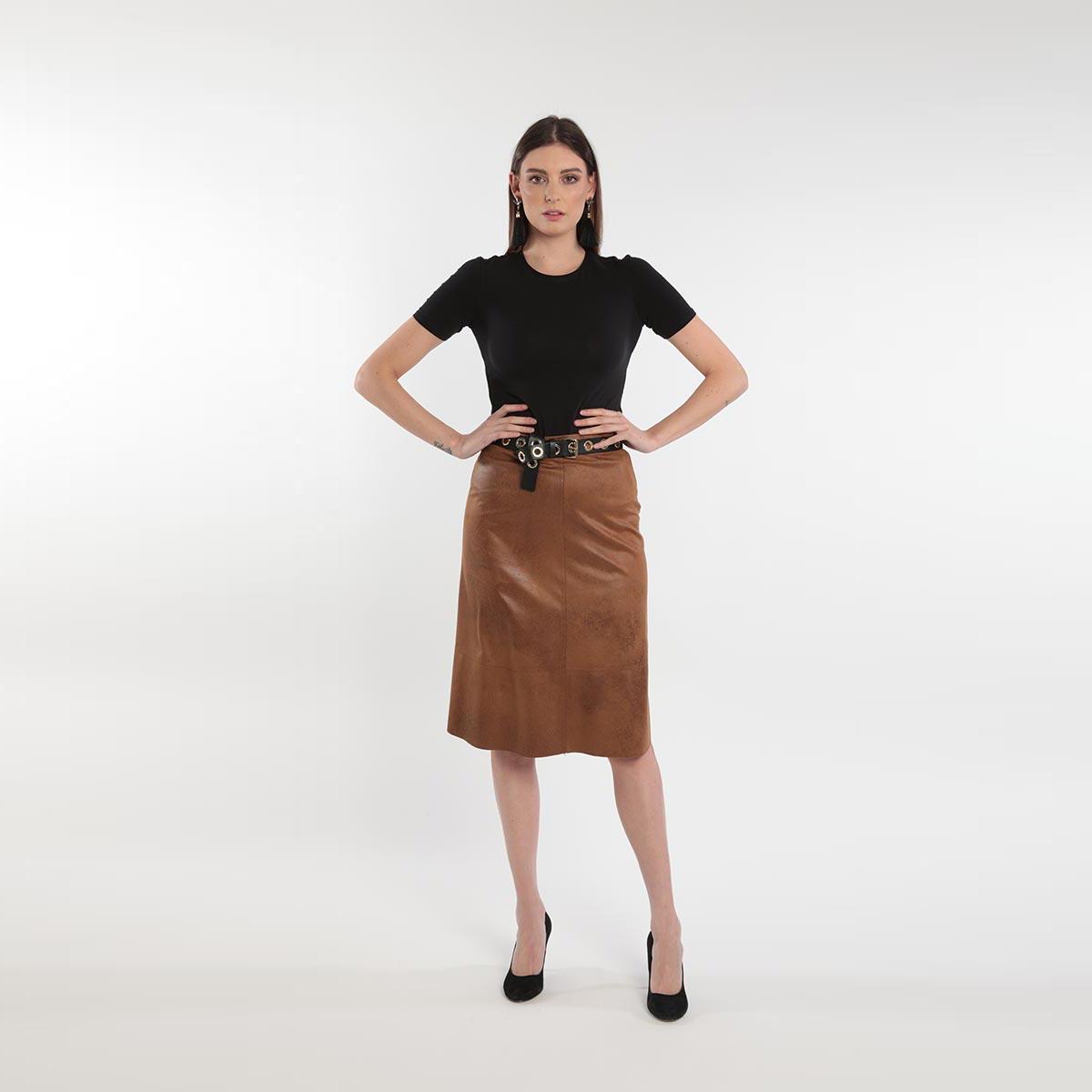 Gonna scamosciata donna curvy primavera 2020 Meteore Fashion