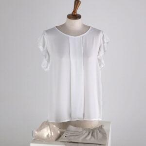 camicia in doppia georgette tinta unita con piega