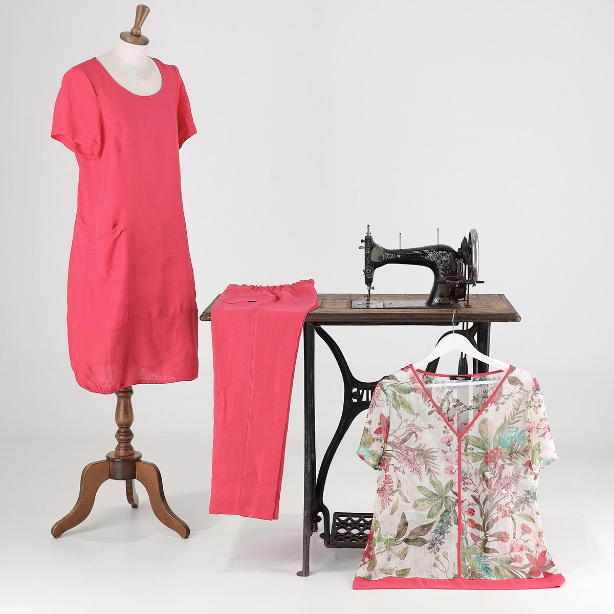 vestito e pantalone tinta unica con camicia fantasia. Collezione estate 2022 Meteore Fashion