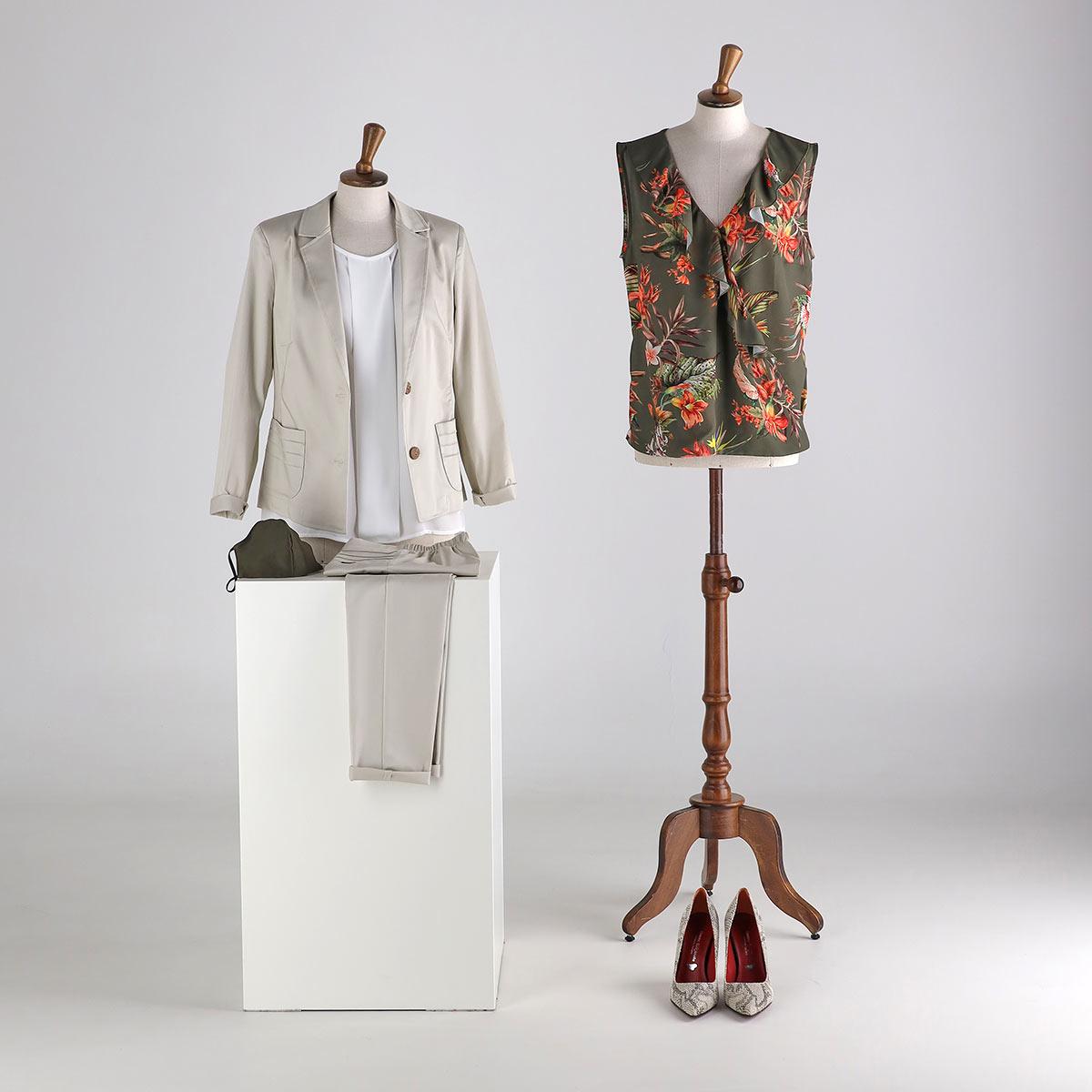 Giacca e pantalone in cotone e camicia fantasia estate 2020 Meteore Fashion
