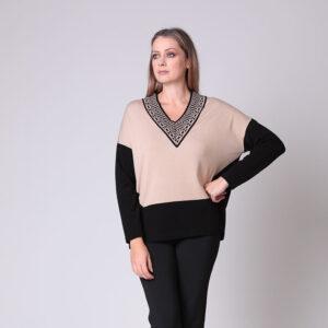 maglia over in lana merino greca lurex